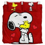 Red Snoopy And Woodstock - Bedding Set (Duvet Cover & Pillow Cases)