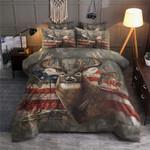 Deer Hunting American Flag Bedding Set (Duvet Cover & Pillow Cases)