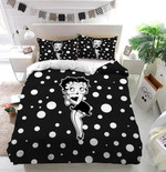 Betty Boop Black And White Dot Bedding Set (Duvet Cover & Pillow Cases)