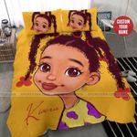 African American Black Little Cute Girl Three Bun Personalized Custom Name Duvet Cover Bedding Set
