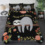 Floral Sloth Bedding Cartoon Duvet Cover Bedding Sets