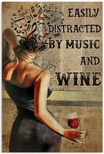 Easily distracted by Music And Wine Book Page Vertical Poster, Inspiration Poster , Great ideas for Living room, Bedroom, Home Decor, Vintage Retro. No Frame, Full Size.