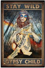 Stay Wild Gypsy Child Poster, I Am Poster, Funny Hippie Girl Native American Vertical Poster No Frame Full Size