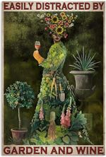 Garden Lady Easily Distracted By Garden And Wine Artwork Wall Home Decor Vertical No-Frame Poster Housewarming Birthday Friend