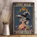 Stay Wild Moon Child Gothic Magic Witch Hat Wall Decor No Frame Poster | Halloween, Christmas, Birthday Gift Idea