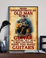 Never Underestimate An Old Man With A Guitar Poster, Funny Guitarist For Boys Men Vertical Poster No Frame Full Size