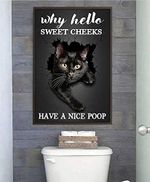 Black Cat Why Hello Sweet Cheeks Have A Nice Poop Bathroom Toilet Funny Bath Lover Poster