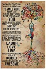 Yoga Laugh Love Live Vertical Poster- Girl Art Printed Quotes Wallart Poster