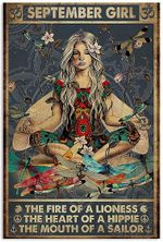 September Girl The Fire Of A Lioness The Heart Of A Hippie Funny Yoga Dragonfly Vertical Poster No Frame Full Size