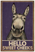 Donkey Purple Hello Sweet Cheeks Bathroom Toilet Funny Bath Vertical Poster No Frame Full Size