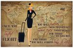 Once You Have Tasted Flight Poster, Funny Flight Attendant Vintage Retro Horizontal Poster No Frame Full Size
