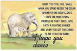 Elephant - I Hope You Dance Horizontal Poster   Vintage Art Print   Gift for Home Decor Poster   Full Size