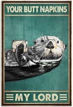 Camys Your Butt Napkins My Lord Poster, Funny Raccoon Vintage Retro Poster Art Picture Home Wall Decor Vertical No Frame Full Size