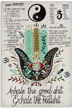Inhale Good Shit Exhale Bullshit Funny Quote Yin Yang Zen Things Hamsa Spiritual Sign Home Wall Decor Poster