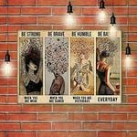Girl With Wine And Music Poster Be Strong Be Brave Be Humble Be Badass Everyday Poster Vintage Retro Art Picture Home Wall Decor Horizontal No Frame Full Size