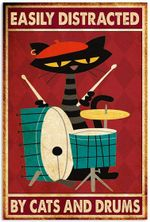Easily Distracted by Cats and Drums Poster, Funny Black Cat Drum Music Vertical Poster No Frame Full Size