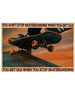 """Spread Inspiration Poster - You Don't Stop Skateboarding Poster Vintage Retro Art Picture Home Wall Decor Horizontal No Frame Full Size 18""""x12"""" 24""""x16"""" 36""""x24"""""""