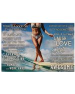 """Surfing Girl Today Is A Good Day Horizontal Poster - Vintage Retro Art Picture Home Wall Decor No Frame Full Size 18""""x12"""" 24""""x16"""" 36""""x24"""""""