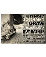 """Skateboarding Life Is Not A Journey Horizontal Poster - Vintage Retro Art Picture Home Wall Decor No Frame Full Size 18""""x12"""" 24""""x16"""" 36""""x24"""""""