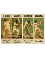 Cricket Poster - Be Strong Be Brave Be Humble Be Badass Horizontal Poster - Vintage Retro Art Picture Home Wall Decor No Frame Full Size