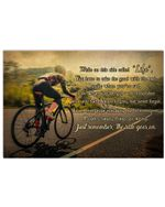 Female Cyclist While On This Ride Called Life Horizontal Poster - Vintage Retro Art Picture Home Wall Decor No Frame Full Size