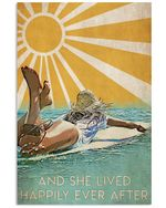 Girl Surfing Happily Ever After Vertical Poster - Print Perfect, Ideas On Xmas, Birthday, Home Decor, No Frame Full Size
