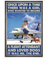 A Flight Attendant And Love Dogs Vertical Poster - Print Perfect, Ideas On Xmas, Birthday, Home Decor, No Frame Full Size