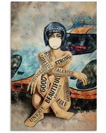 Female Racer Vertical Poster - Print Perfect, Ideas On Xmas, Birthday, Home Decor, No Frame Full Size
