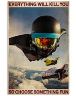 Wingsuit Flying Choose Something Fun Poster Vintage Retro Art Picture Home Wall Decor Horizontal No Frame Full Size
