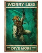 American Diver Worry Less Dive More Poster Vintage Retro Art Picture Home Wall Decor Horizontal No Frame Full Size