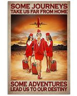 Flight Attendants Some Adventures Lead Us To Our Destiny Poster Vintage Retro Art Picture Home Wall Decor Horizontal No Frame Full Size