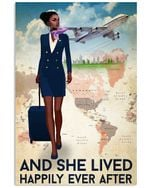 Black Girl And She Lived Happily Ever After Flight Attendant Poster Print Perfect, Ideas On Xmas, Birthday, Home Decor,No Frame Full Size