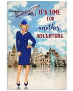 It's Time For Another Adventure Flight Attendant Poster Vintage Retro Art Picture Home Wall Decor Horizontal No Frame Full Size