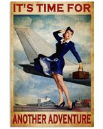 Flight Attendant Time For Adventure Poster Print Perfect, Ideas On Xmas, Birthday, Home Decor,No Frame Full Size