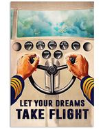 Pilot Let Your Dreams Take Flight Poster Vintage Retro Art Picture Home Wall Decor Horizontal No Frame Full Size