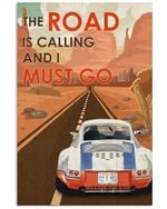 White Blue Red Car The Road Is Calling Vertical Poster - Print Perfect, Ideas On Xmas, Birthday, Home Decor, No Frame Full Size