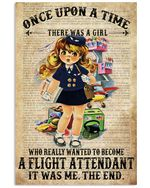 Once Upon A Time There Was A Girl Who Really Wanted To Become A Flight Attendant Poster Vintage Retro Art Picture Home Wall Decor Horizontal No Frame Full Size