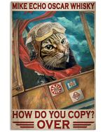 Cat Pilot Mike Echo Oscar Whisky Vertical Poster - Print Perfect, Ideas On Xmas, Birthday, Home Decor, No Frame Full Size