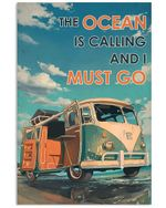 Bus The Ocean Is Calling And I Must Go Poster Vintage Retro Art Picture Home Wall Decor Horizontal No Frame Full Size