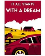 Car And Farm It All Starts With A Dream Poster Vintage Retro Art Picture Home Wall Decor Horizontal No Frame Full Size