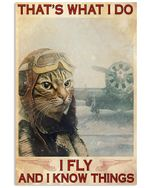 Cat Fly And Know Things Vertical Poster - Print Perfect, Ideas On Xmas, Birthday, Home Decor, No Frame Full Size