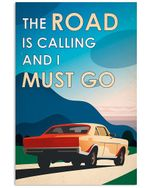 Muscle Car The Road Is Calling I Must Go Poster Vintage Retro Art Picture Home Wall Decor Horizontal No Frame Full Size