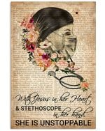 Nurse With Jesus In Her Heart And Stethoscope In Her Hand Unstopable Dictionary Poster Vintage Retro Art Picture Home Wall Decor Horizontal No Frame Full Size