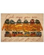 Firefighter God Says You Are Unique Special Protected Precious Strong Chosen Important Poster Vintage Retro Art Picture Home Wall Decor Horizontal No Frame Full Size