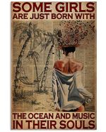 Some Girls Are Just Born With The Ocean And Music Vertical Poster - Print Perfect, Ideas On Xmas, Birthday, Home Decor, No Frame Full Size