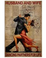 Husband And Wife Dancing Partners For Life Music Poster Vintage Retro Art Picture Home Wall Decor Horizontal No Frame Full Size