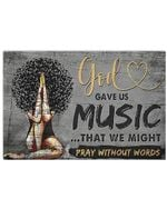 God Gave Us Music Horizontal Poster - Vintage Retro Art Picture Home Wall Decor No Frame Full Size