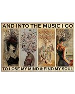 Girls Into The Music I Go To Lose My Mind Horizontal Poster - Vintage Retro Art Picture Home Wall Decor No Frame Full Size