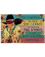 Cowboy Girl And Flower They Whispered To Her Horizontal Poster - Vintage Retro Art Picture Home Wall Decor No Frame Full Size