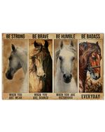 Horse Be Strong When You Are Weak Horizontal Poster - Vintage Retro Art Picture Home Wall Decor No Frame Full Size